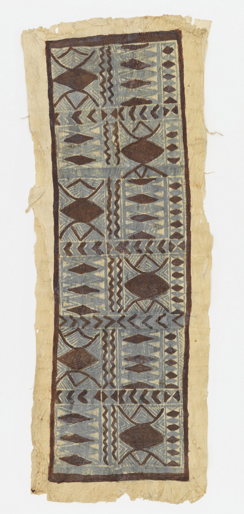 Panel of tapa cloth painted to show a dark brown frame containing twelve compartments of geometric designs. Compartments are divided by bands of chevron, diamonds and waving lines. Border of unpainted cloth.