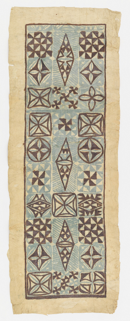 Panel of tapa cloth painted to show a dark brown frame containing thirty compartments of geometric designs painted in dark brown and light blue. Design is roughly symmetrical, based upon a vertical axis. Border of unpainted cloth.