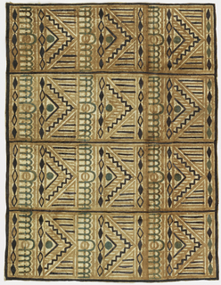 Twelve geometric patterned rectangles in square repeat (4 over 3). Each rectangle measures about 40cm square. The basic pattern in light brown seems to have been printed and the dark brown and blue accents applied by brush.