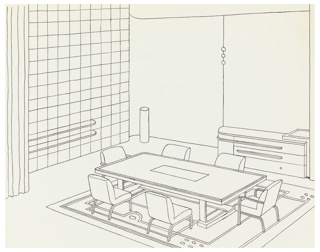 Drawing, Design for Dining Room, Contemporary American Industrial Design Exhibition, Metropolitan Museum of Art, New York, NY