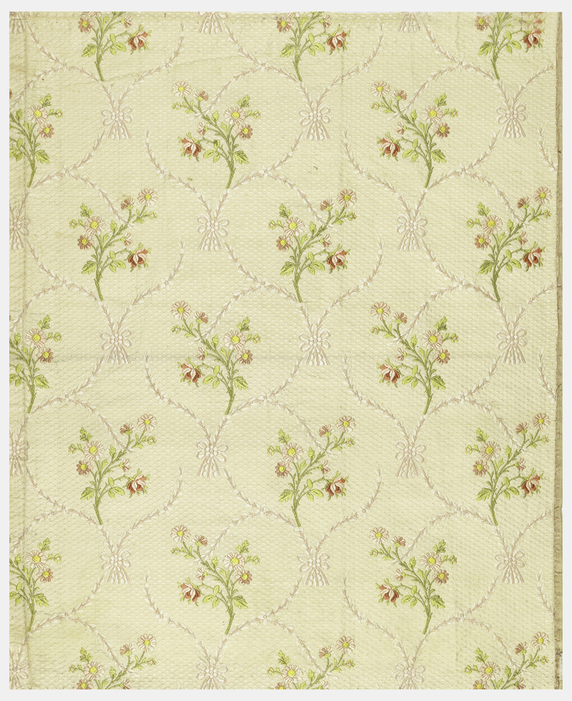 Floral sprays on patterned white ground. A selvage present.