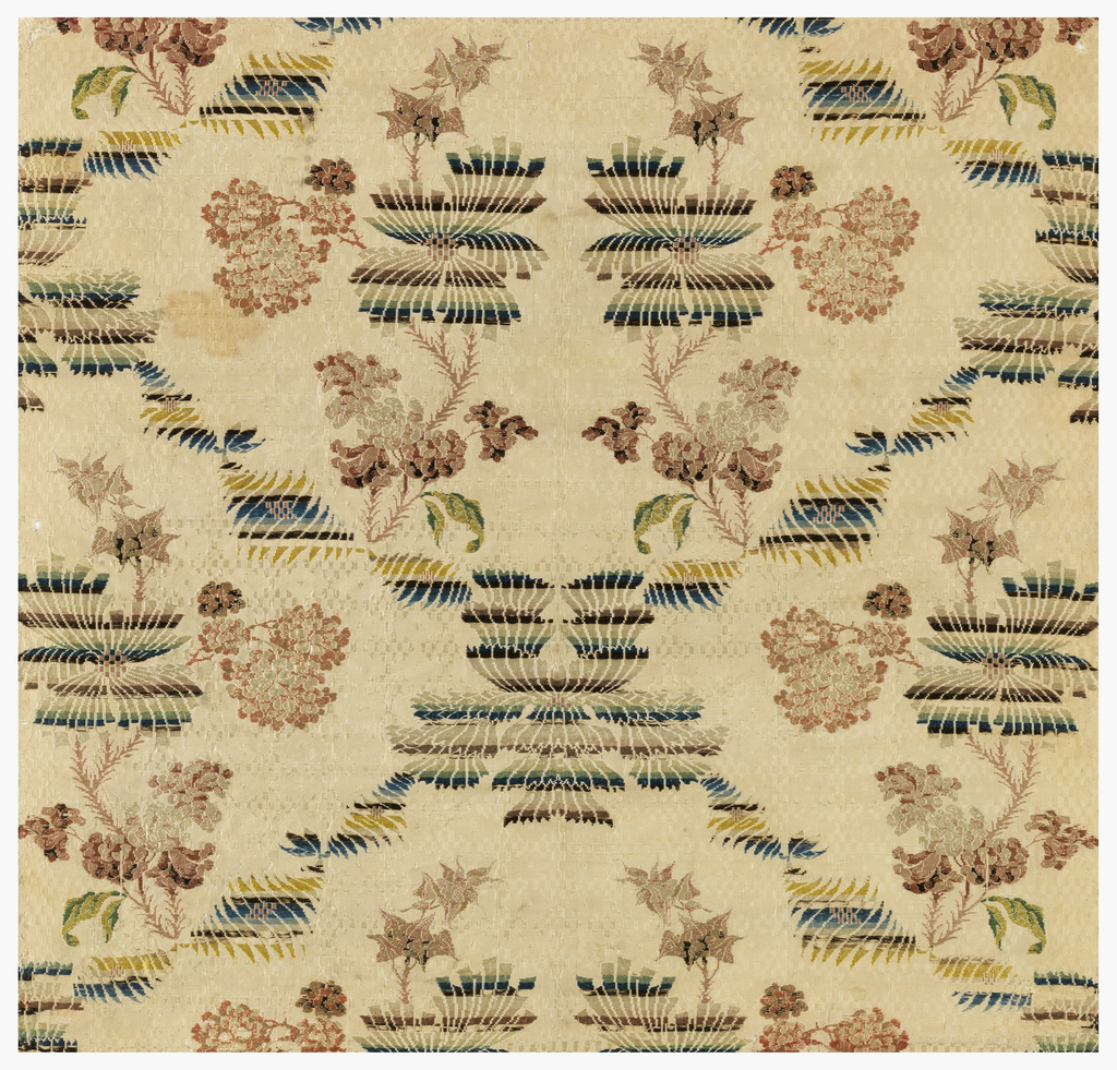 Silk brocade with a symmetrical design of intertwined flowering vines, one with very prominent horizontal striping.
