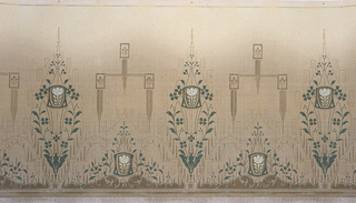 "On tan ground, alternating designs: almond shaped green vines containing ""vase"" with a white rose and same rose at the bottom surrounded by green vines with chandelier-like image above composed of a cross with three squares."
