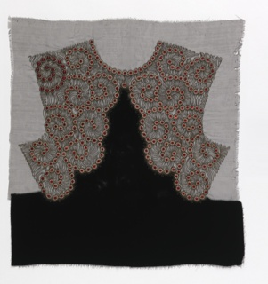 Sample for a woman's dress back in black velvet with a yoke of black net embroidered in gilt thread, gold beads and two types of red glass beads in a scroll design.