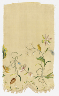 Two sections of a cream-colored silk valance with scalloped edge and silk fringe border.  Embroidered with delicate naturalistic flowers and tendrils tied into bows. In pale greens, blues, golds, and pinks.