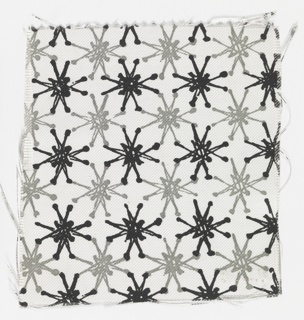 White ground printed in black and gray in a pattern of frost flowers.