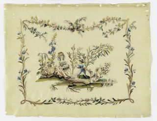 """Cream white taffeta embroidered in """"colonial"""" silks. At center, a woman is seated beside baskets of flowers. A boy displays a white bird. Two small children are at the side. Their faces are painted, and a floral vine encloses the scene."""