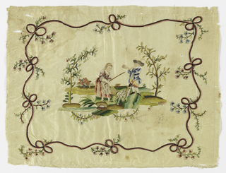 Cream white taffeta embroidered in colored silks. At center, a shepherd with a ham, a shepherd with a horn, a shepherd with sticks and goats. Faces, hair, hat and horn painted. Framed in a pattern of a narrow ribbon made of beau knots with flowers.