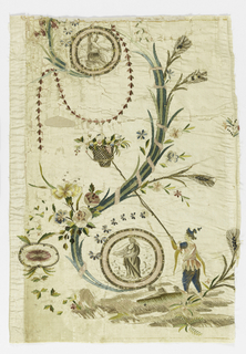 Skirt panel of cream-colored taffeta embroidered in multicolored silks and gold in a fantastic pattern of a large flower spray, and a man with a long pole reaching to a basket.