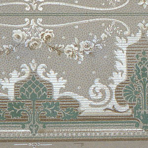On gray crackled ground, alternating large and small motifs of green acorn and standing plant with nautilus-like leaves; above these, garlands of white roses. Two borders printed across the width.
