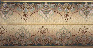 On gradient cream and beige ground, alternating tall and short arabesque scroll motifs in sea green, white, and brown.