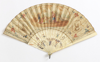 Fan with a painted leaf. Obverse has a scene in a cartouche of a woman with flask in supplication to warrior. Reverse is plain. Ivory sticks carved à jour with Rococo-style curves and painted chinoiserie figures.