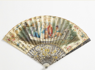 Painted paper leaf. Obverse: marriage in a garden with putti trying on classical armor. Reverse: plain. Carved and silvered mother-of-pearl sticks with floral and scroll decoration.