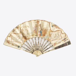 Pleated fan.  Gilded paper leaf painted with gouache showing an outdoor scene with two figures playing musical instruments. Gilded ivory sticks, pierced and carved showing a man and woman. Guards backed with mother-of-pearl. Pin is set with a brilliant.