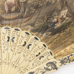 Pleated fan. Printed and hand-colored paper leaf. Obverse: coronation scene of Marie de Medici, surrounded by gilding and appliquéd paper designs. Reverse: chinoiserie scene. Pierced bone sticks with gold and silver foil decorations. Mirrors on guards.