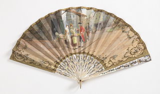 Parchment leaf lined with silk and painted with gouache showing a street scene with a soldier buying flowers from a vendor. Pierced mother-of-pearl sticks painted with gold and silver showing flowers.  Rivet set with faceted ruby-colored stone and gilt metal bail.