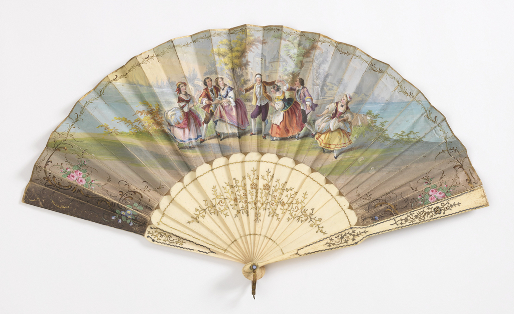 Pleated fan. Printed and hand-colored paper leaf. Obverse: figures in a landscape with country home playing the game Blind Man's Bluff. Reverse: a pastoral boating scene. Carved, drilled and gilded bone sticks. Rivet set with stone. Gilt metal bail.