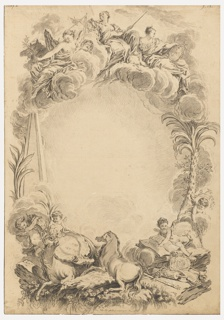 In the same direction as the etching--a memorial to William Earl Cowper after François Boucher by Nicolas-Dauphin de Beauvais, 1921- 6- 58. Justice with a pair of scales and a sword; Prudence and Peace are on top; attributes referring to Cowper at the bottom.