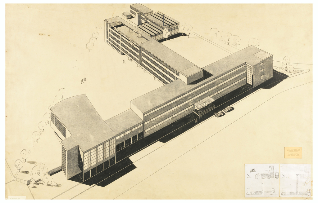 "Photostatic reproduction of a perspective drawing, showing a building in modified ""T"" shape, the bar of the letter toward foreground and three stories high with continuous bands of windows; the stem of the ""T"" four stories high with lower buildings for workshops and laboratories at one side of its end.  Photographs of two smaller-scale plans affixed, lower right corner."