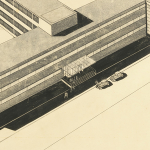 """Photostatic reproduction of a perspective drawing, showing a building in modified """"T"""" shape, the bar of the letter toward foreground and three stories high with continuous bands of windows; the stem of the """"T"""" four stories high with lower buildings for workshops and laboratories at one side of its end.  Photographs of two smaller-scale plans affixed, lower right corner."""