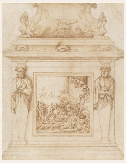 Decoration of statuary base for Genoese naval hero and imperial admiral Adrea Doria, whose successes are commemorated in the marine scene seen in the framed relief on the pedestal. Surrounding this scene are two cloaked herms, supporting capitals and the upper portion of the base. Turtles and sphinxes with fishtails and a satyr mask complete the decoration.