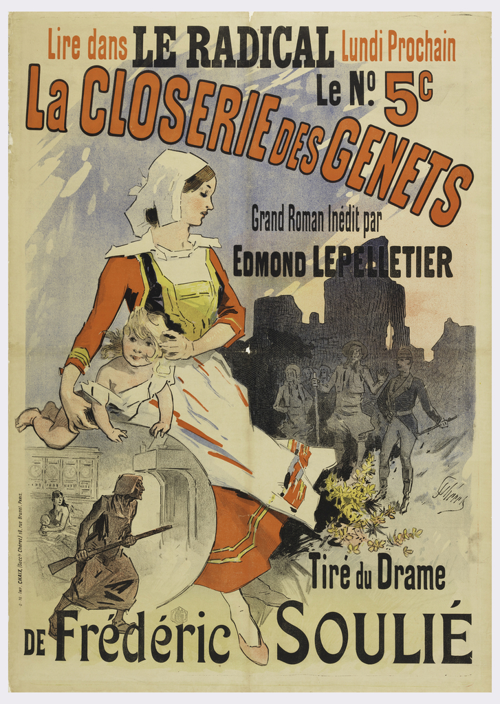 Poster featuring young woman with child, Bastille in the background. Text in black and red across top.