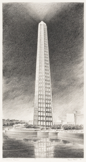 Presentation drawing of a tall, obelisk-shaped tower with many floors of arched windows illuminating the structure. In front of the building, a curved plaza lined with trees and dotted with small figures; a pool of water in the foreground, in which a partial reflection of the scene above is visible. Additional buildings and trees in the background. Gradated sky with light emanating from the peak of the tower.