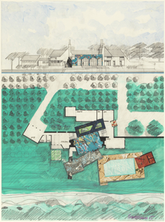 Plan and elevation of a house and grounds.