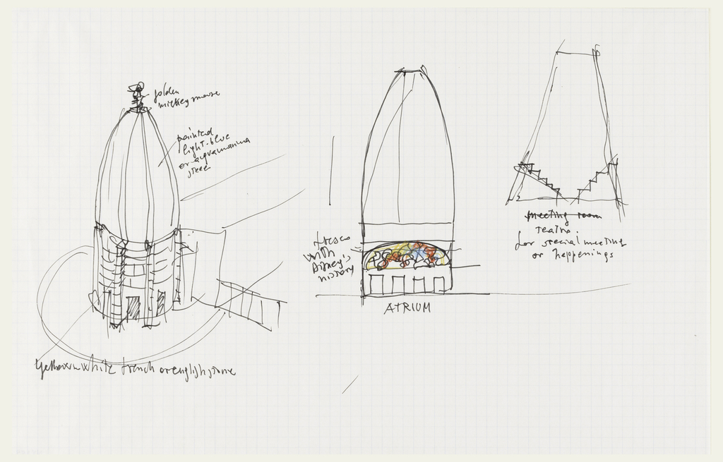 "Three small studies related to ""Study for overall Complex with additional studies of towers"". Inscribed in pen and black ink near left dome: golden/Mickey Mouse painted/light-blue/or aquamarine/steel; bottom: yellow-white french or english pine; near center image: ATRIUM with fresco with Disney's history; right, near image: teatro for special meetings or happenings (first line crossed out)."