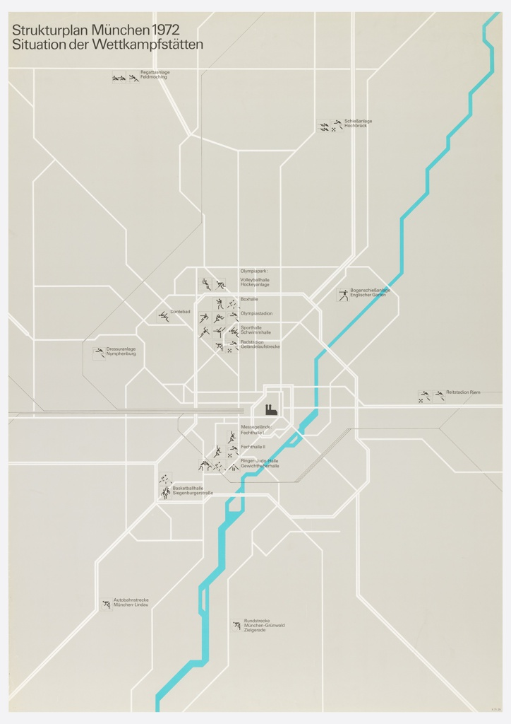 Poster for the Munich Olympics shows a map of the competition locations.