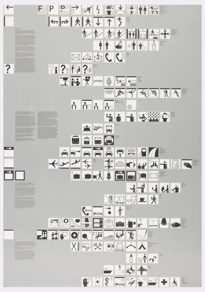 "Poster employing 169 ""symbol signs"" or pictographs in black, and sometimes gray, in white squares from top to bottom of sheet.  Symbols represent an international visual ""language"" that instructs the viewer to the many activities and regulations of the Olympic Village in Münich durning the 1972 Games. These are presented on a uniform silver-gray background with instructive text in black on the left side of the sheet [in German].  To the right of each of the 24 rows of signs, there is printed text [in German] detailing the image."