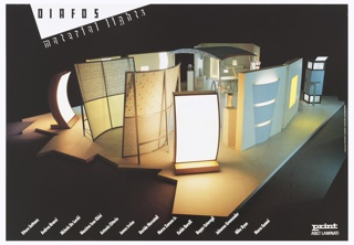 "Photographic reproduction of an interior view of a designer's showroom area. Featured are brightly lit and colorfully designed wall screens and room dividers.  The arrangement is set on an irregular platform and surrounded by darkness. At upper left corner a white triangle jutts into the image with black letters ""DIAFOS,"" and below ""MATERIAL LIGHTS."" Across lower edge of sheet from left to right  the names of the lighting/furniture designers featured."