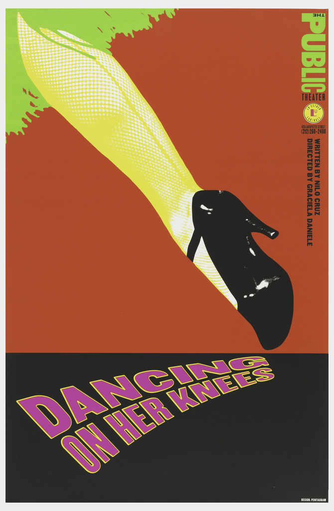 "Image divided into two sections. Upper section shows a woman's leg (seen from behind) wearing a yellow stocking and a black heeled shoe. Green fringe from skirt visible at upper left corner. Image runs from upper left to lower right on a diagonal against a vivid red background. Lower section shows purple letters outlined in yellow against a black background.  Spelling ""Dancing on Her Knees"" the text moves from lower left to right, ending at the tip of the woman's shoe.  Inscribed text along right side."