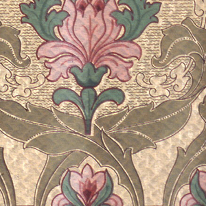 Very stylized art nouveau floral design. Large-scale tulips enclosed in foliate framework. Band of small floral motifs along bottom edge. Printed on a chevron-like patterned background. Printed in pink, green, tan and black.