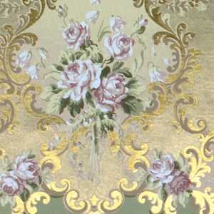 Large medallions containing floral bouquets, alternating with smaller bouquets. Background simulates moire. Printed in red, white, green and metallic gold.