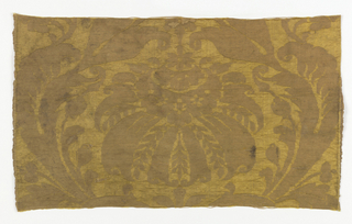 Large-scale yellow flower and pendant-like leaves in predominantly weft-faced linen weave on a yellow silk satin ground.