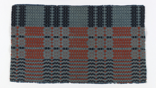Fragment of traditional woven coverlet with an overall grid of varied supplementary weft patterns in red, grey and dark blue.