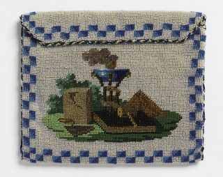 Rectangular purse, solidly beaded. Against a background of opalescent beads are pictured Masonic emblems, with a border of blue checkerboard. Lined in white leather, on which is inscribed Miss Dearsley, 25 Dec. 1870.