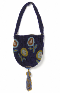 Pouch-shaped bag drawn together at bottom with tassel; very simple repeat of flower in turquoise, coral and gold against bright blue ground.