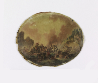 Small oval panel with a small-scale realistically drawn scene of armed combat between two groups of horsemen.