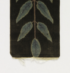 Narrow vertical rectangle with a red and brown central rosette and narrow stems of green laurel leaves on a black ground.