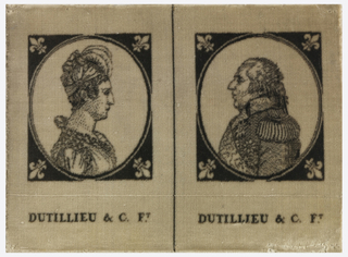 Two profile portraits, each in an oval frame with a fleur-de-lys in each corner. Woman in a turban with fathers, man in powdered wig and military uniform.