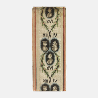 Fragment of a ribbon with a wide velvet center, warp-printed with simple simple profiles of French kings within medallions labelled with Roman numerals. Bordered by narrow vertical stripes of shaded rose at the sides.