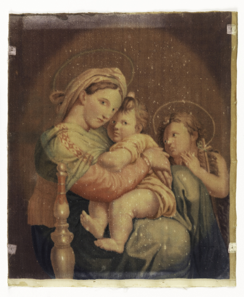 """Picture in velvet of """"The Madonna of the Chair"""" after the painting by Raphael."""
