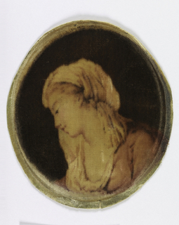 Picture in velvet of a young woman in profile.