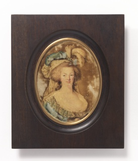 Portrait of Marie Antoinette in oval wooden frame. Gregoire velvet in shades of brown and blue.