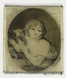 "Portrait of ""Innocence"" by Greuze in Gregoire velvet technique executed by H. Erquez. ""Innocence"" is depicted with a lamb under her arm."