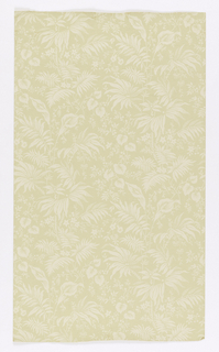 Drop-repeating. Delicate, close-set pattern of flowers, fern-like leaves, and trailing vines, cream on beige ground.