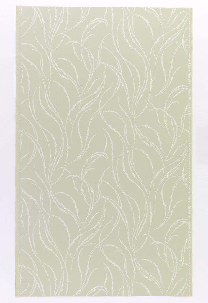 """White, intertwining stems on """"a"""", pale green, """"b"""", yellowish green, """"c"""", pale gray ground. """"d"""" on darker gray and """"e"""", on lighter gray textured ground. Drop repeat, straight match. In margin: """"lichbestandig Hosel Tapete5265""""."""