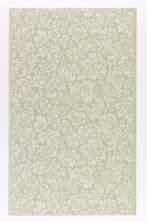"Paper embossed in linen pattern: a) Grayish ground with silver, asymetrical baroque flowers and scrolls in lighter gray, outlined with white and tan; b) Same, in shades of green. Straight repeat and match. In margin:""Lichtbestandig Hosel Tapete 5279""."